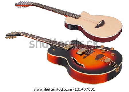 The image of a guitars under the white background - stock photo