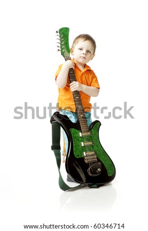 The image of a little boy with a guitar on a white background - stock photo