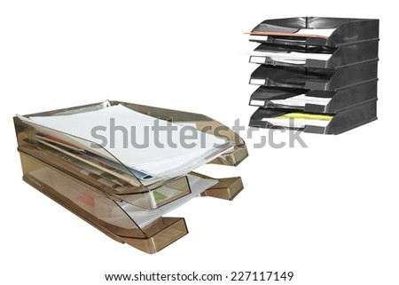 The image of a paper tray under the white background - stock photo