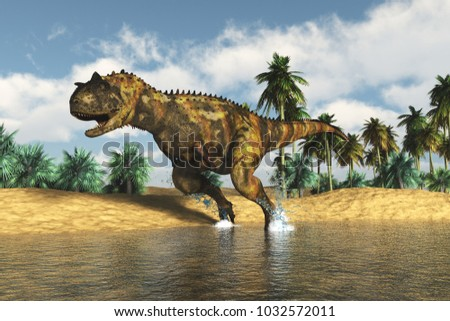 The image of a predatory dinosaur 3D illustration