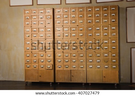 The image of a retro library catalog