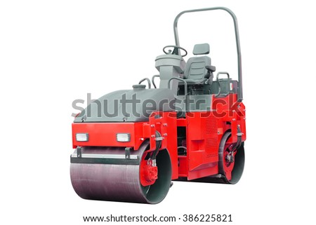 The image of a road rollers under the white background - stock photo