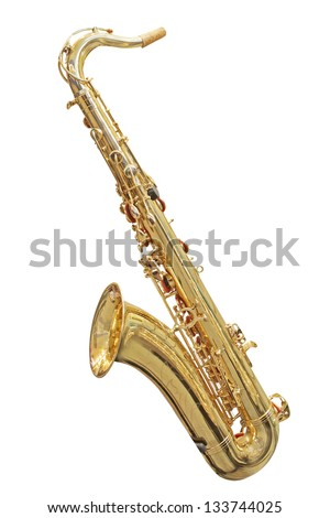 The image of a saxophone isolated under a white background - stock photo
