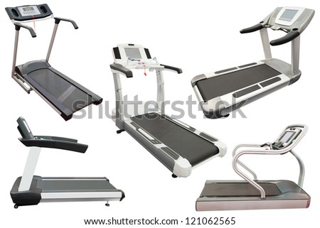 The image of a treadmill under the white background - stock photo