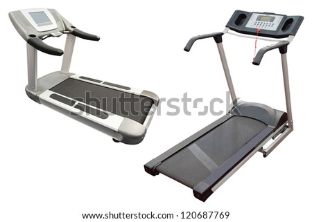The image of a treadmills under the white background - stock photo