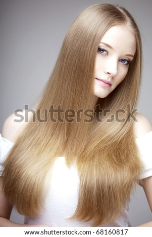 The image of a woman with luxurious hair - stock photo