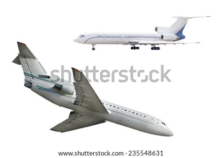 The image of airplane under the white background