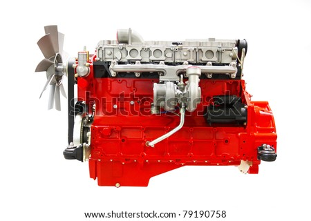 The image of an engine under the white background - stock photo