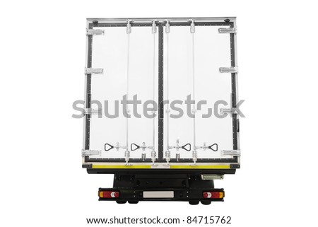 The image of  back doors of van under the white background - stock photo