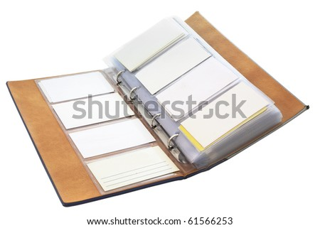 The image of blank visit cards in the organizer