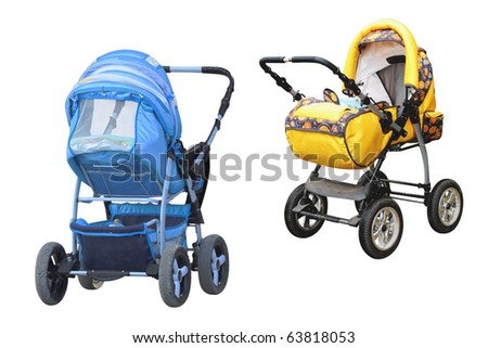 The image of blue and yellow perambulators under the white background - stock photo