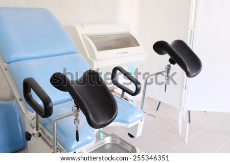 The image of blue gynecological chair  - stock photo