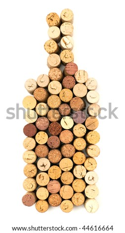 The image of bottle made from wine corks - stock photo