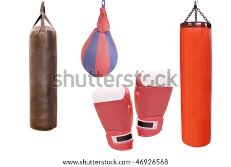 The image of boxing equipment under the light background - stock photo
