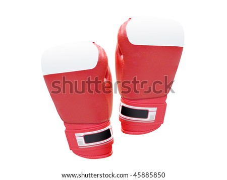 The image of boxing gloves under the white background