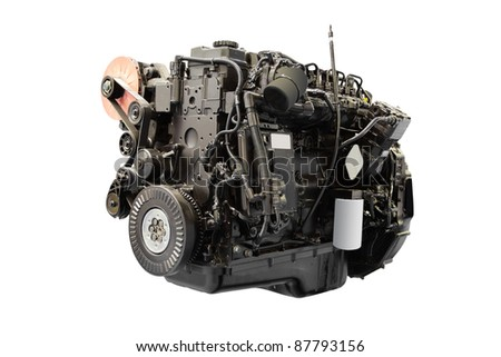 The image of car engine under the white background