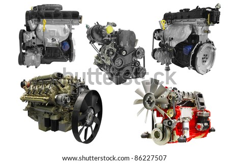 The image of car engines under the white background - stock photo
