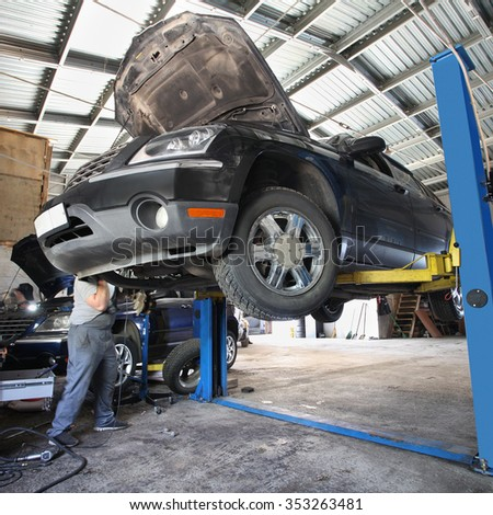 The image of car under repair