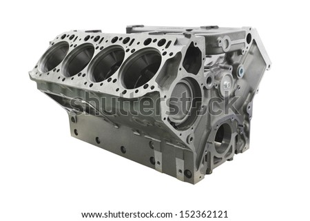 The image of cylinder block of truck engine - stock photo