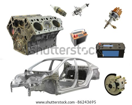 The image of different car spare parts - stock photo