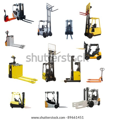 The image of different loaders under the white background - stock photo