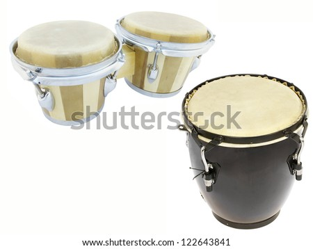 The image of drums under the white background
