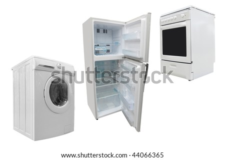 The image of electric stove, washer and refrigerator - stock photo