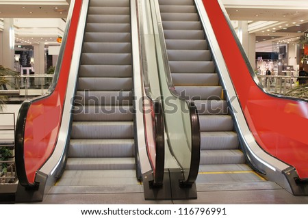 The image of elevator in business centre - stock photo