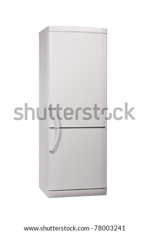The image of enclosed refrigerator isolated on white. - stock photo