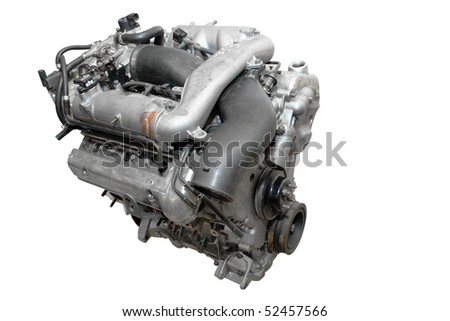 The image of engine under the white background - stock photo
