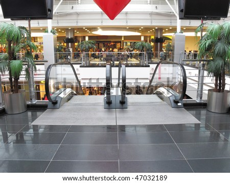 the image of escalator in shopping center - stock photo
