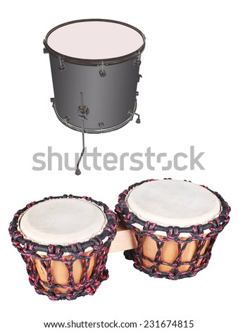 The image of ethnic african drum under the white background - stock photo