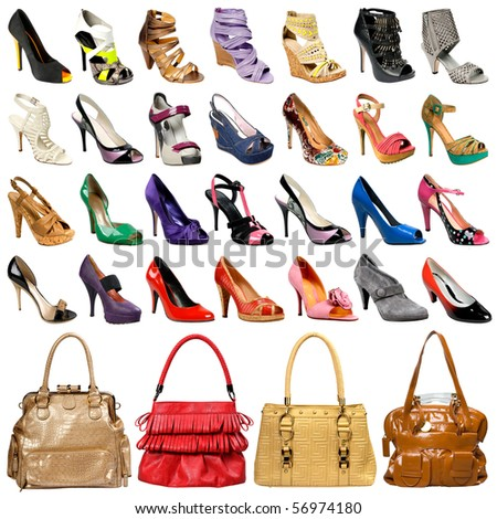 The image of female footwear and bags isolated against - stock photo