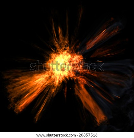 The image of fiery explosion on a black background