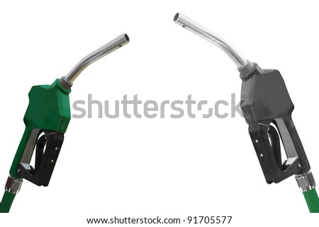 The image of fuel dispensers under the white background - stock photo