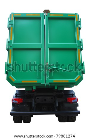 The image of garbage truck under the white background - stock photo