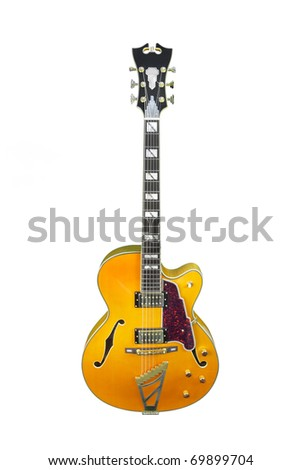 The image of guitar under the white background - stock photo