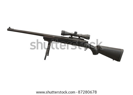 The image of gun with telescopic sight - stock photo