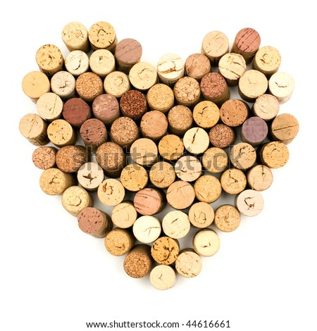 The image of heart made from wine corks - stock photo