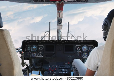 The image of helicopter cockpit interior - stock photo