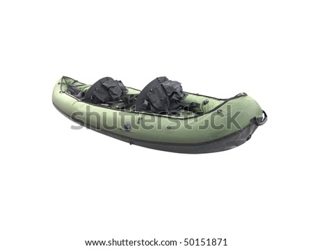 The image of inflatable boat under the white background - stock photo