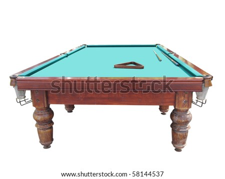 The image of isolated billiard table under the white background - stock photo