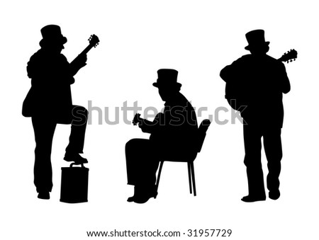 The image of jazz guitarist. Easily edited - stock photo