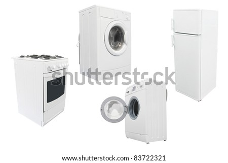 The image of kitchen equipment under the white background - stock photo