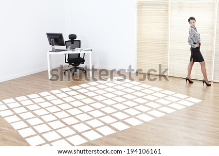 the image of Korean businesswoman and working at home - stock photo
