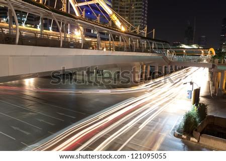 The image of night traffic at Bangkok, Thailand. - stock photo