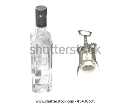 The image of opener and bottle of vodka under the white background - stock photo