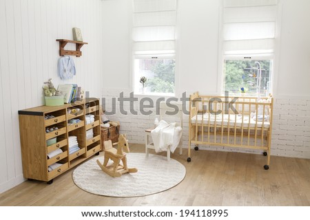 the image of parenting and baby room - stock photo