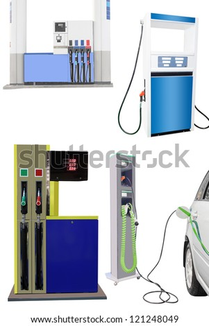 The image of petrol pump and hibrid car charging station - stock photo