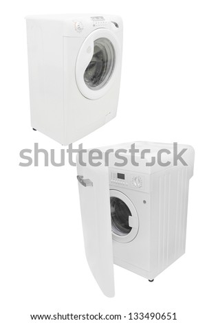 The image of pink washers under the white background - stock photo